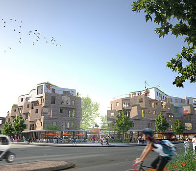 Design for a district development in Christchurch in New Zealand by the Düsseldorf architect firm greeen! architects.