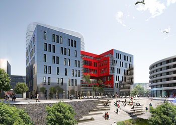 Design by greeen! architects for an office building in Düsseldorf's Medienhafen
