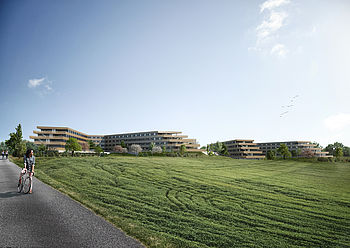 In Brühl the ecological educational campus Heider Bergsee Campus in Holzbau is being built