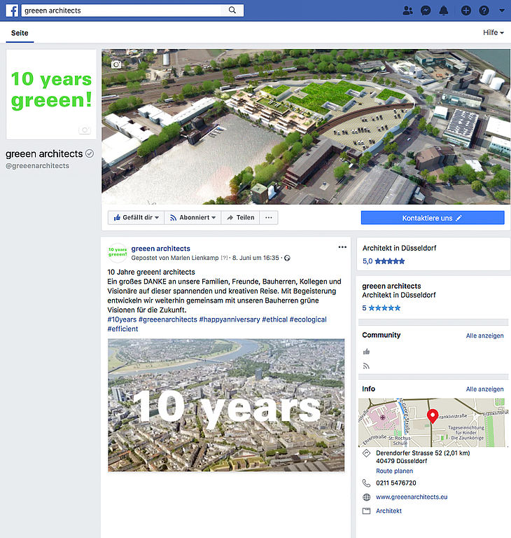 You can find greeen! architects at Facebook